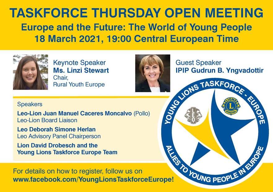 Young Lions Taskforce Europe nettitapahtumaan torstaina 18.3.2021